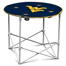 West Virginia Mountaineers Collapsible Round Table with 4 Cup Holders an... - $48.18