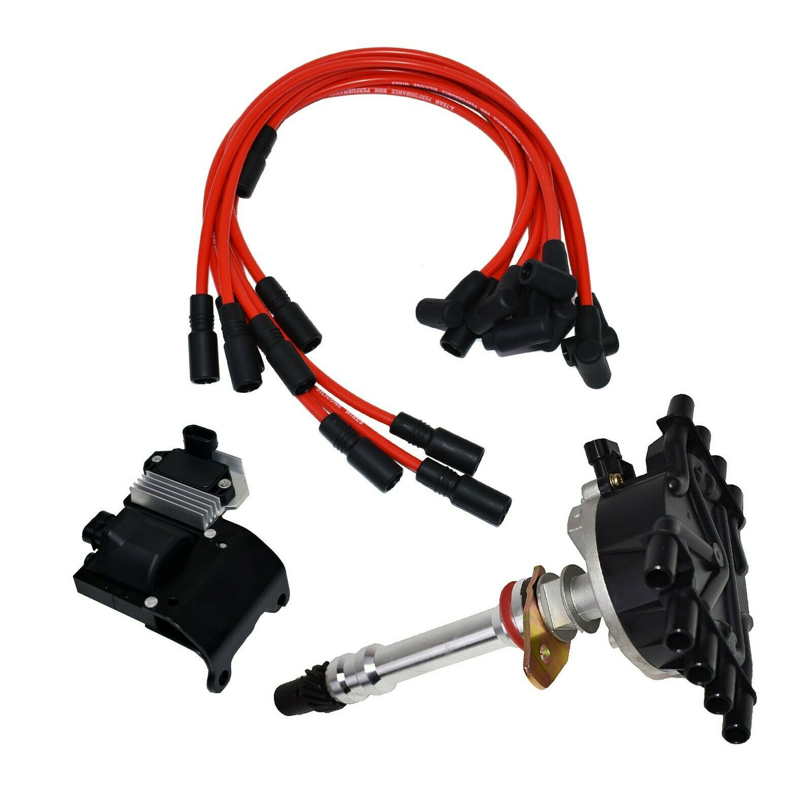 96 02 Chevy GMC VORTEC Distributor, 8mm Spark Plug Wires, Ignition Coil & Module