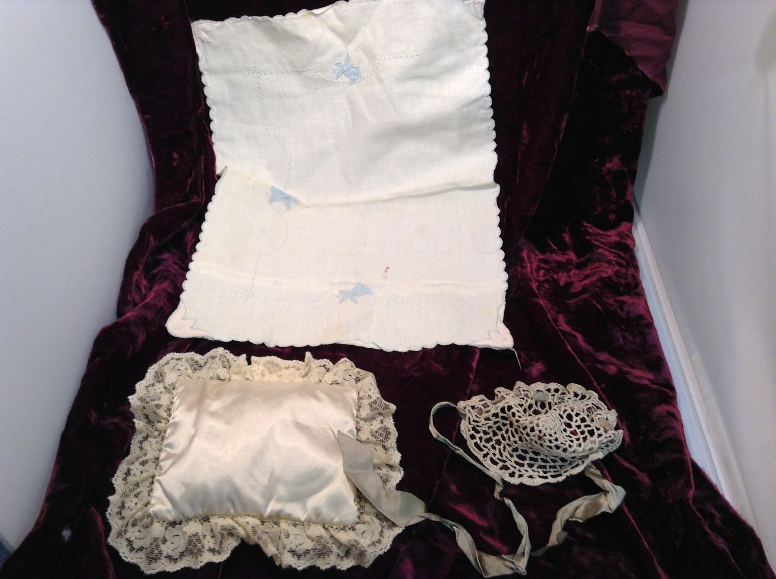 Antique Baby Doll Clothing and Crib Set
