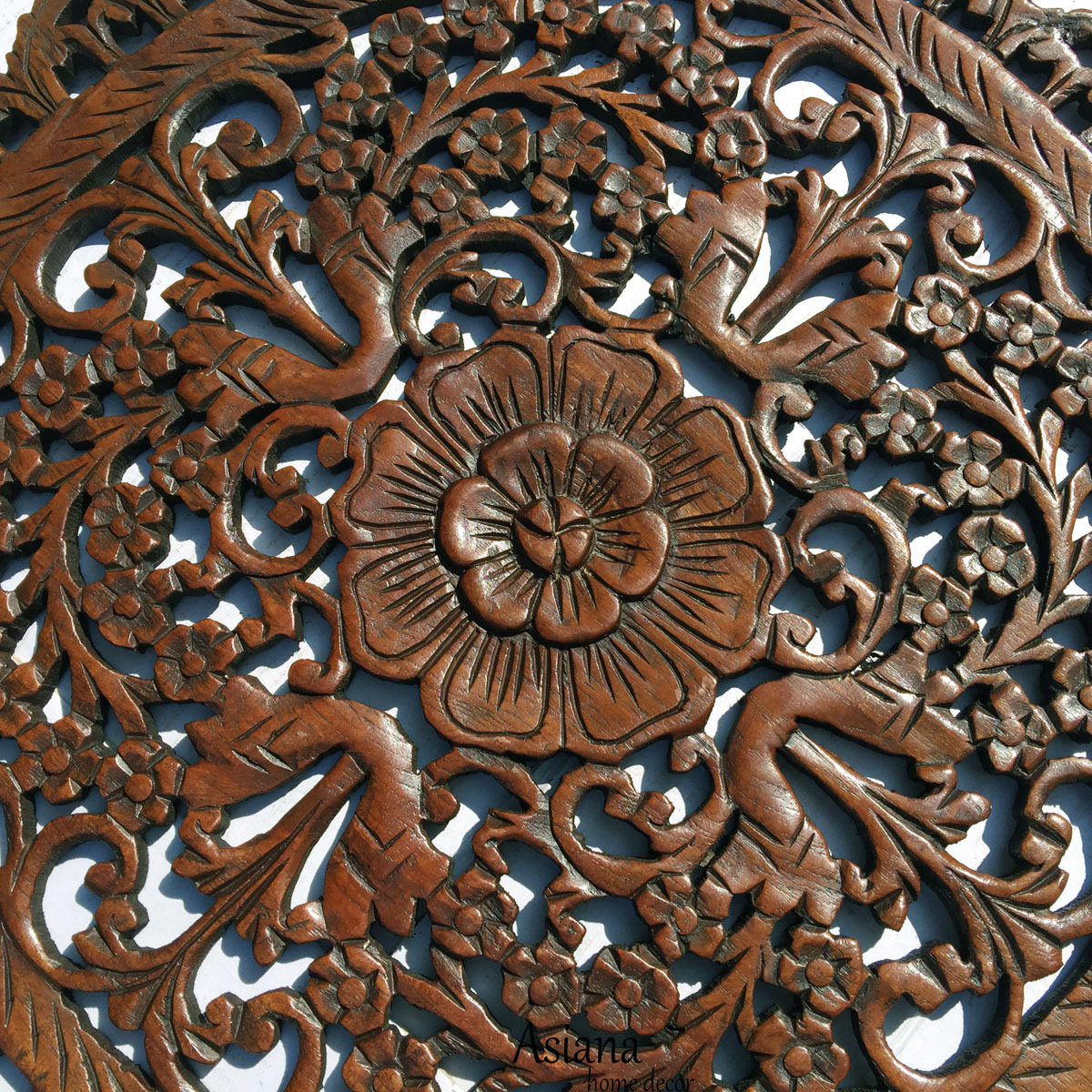 2 39 Round Wood Carved Floral Wall Art Asian Wood Wall Panels Floral Wall Hanging Wall Sculptures