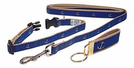 Preston Glittery Gold Anchor on Blue Collar Leash Set, Small Dogs, Free ... - $64.43