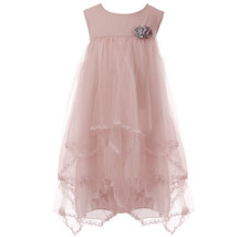 Rose Soft Tulle Babydoll Girl Dress with Two Tone Flower Brooches - $30.00