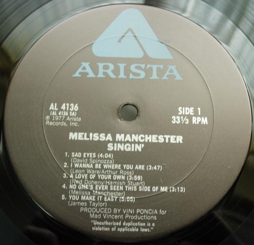 Melissa Manchester - Singin' - Arista Records AL 4136
