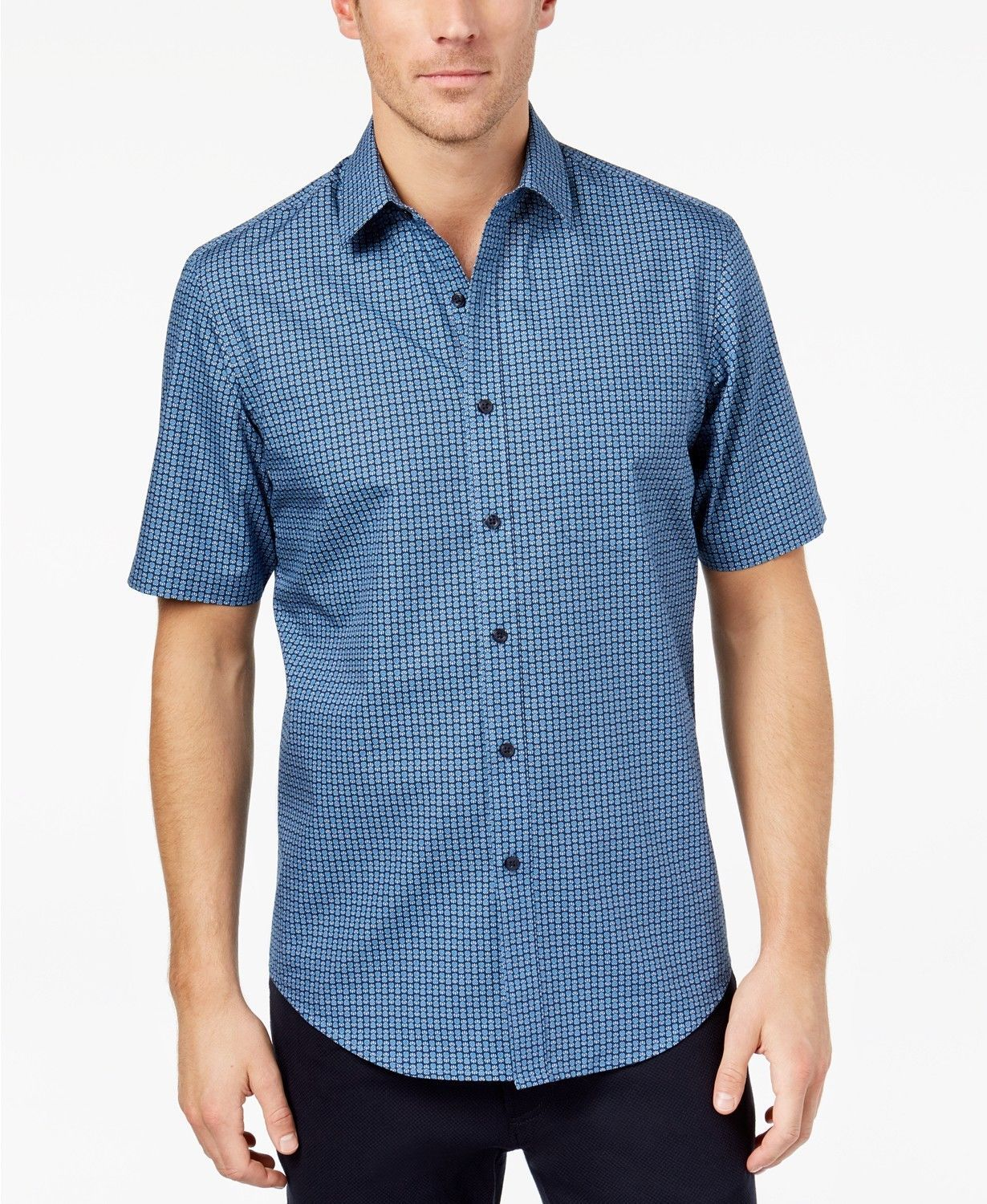 Primary image for NEW MENS CLUB ROOM SHORT SLEEVE PINEAPPLE PRINT NAVY BLUE BUTTON FRONT SHIRT S