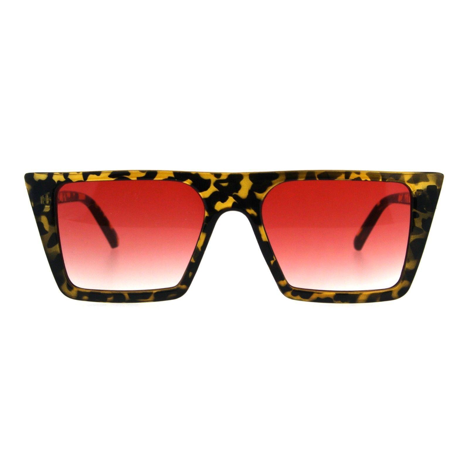 Retro Modern Womens Sunglasses Flat Top Rectangular Trapezoid Frame UV 400