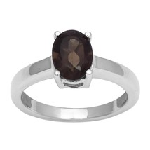 White Rhodium-Smoky Quartz 925 Sterling Silver Ring Jewelry Size-8 SHRI2432 - $12.85