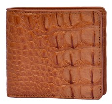 Premium Crocodile Tawny Brown Horn Back Card Slots Real Leather Wallet - $176.39