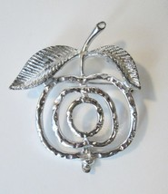 Vtg Silver Tone Stylized Leaved Apple Or Cherry Pin Brooch Signed Sarah ... - $7.00