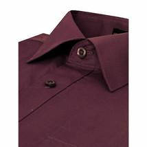 Omega Italy Men Burgundy Classic Fit Standard Cuff Solid Dress Shirt - 5XL image 2