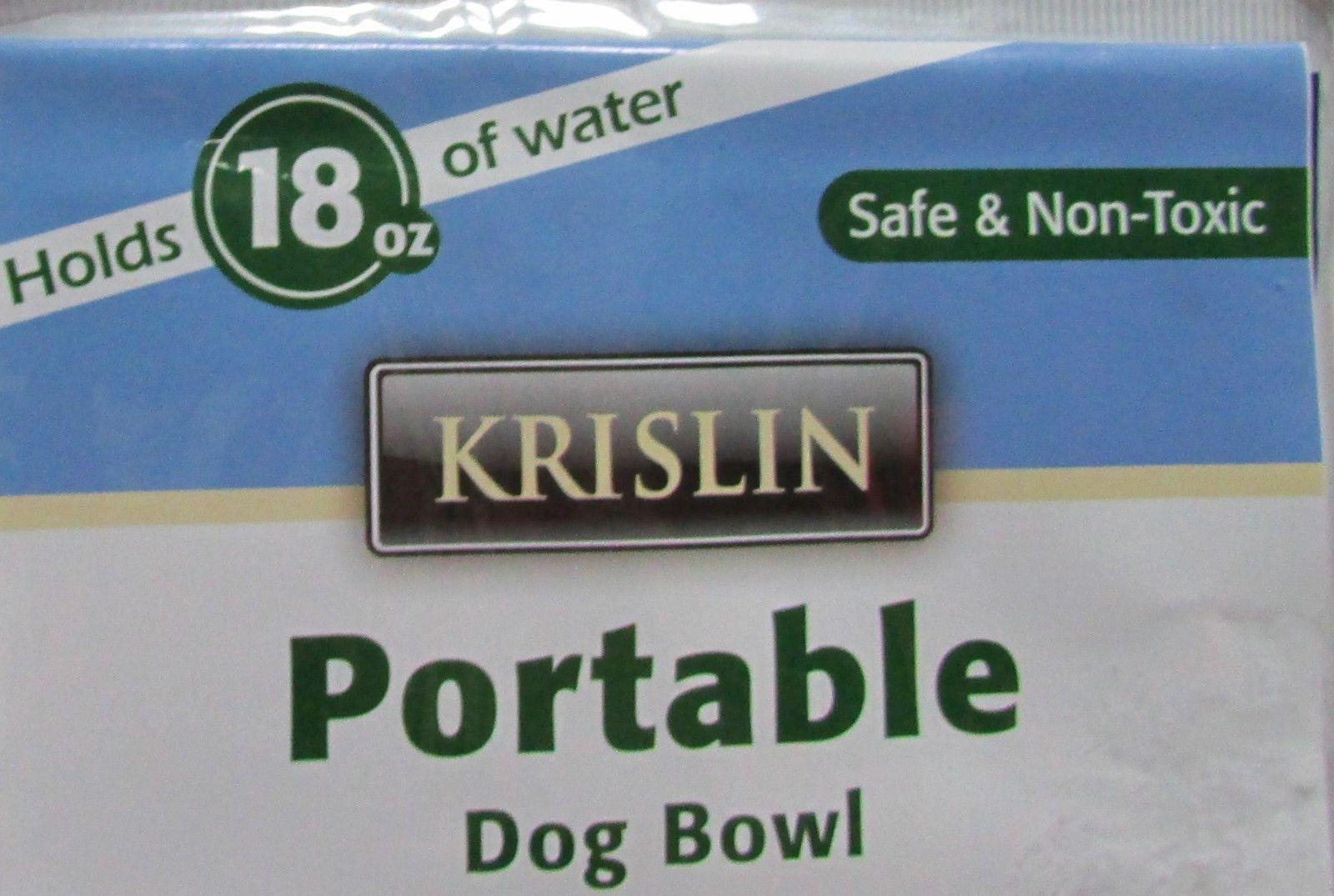 Krislin Portable Dog Bowls 18 fluid oz. Lot of 2 Water or Food Blue NEW