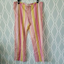 Victorias Secret Pink Striped Cotton Pajama Pants Womens Size Small - $15.93