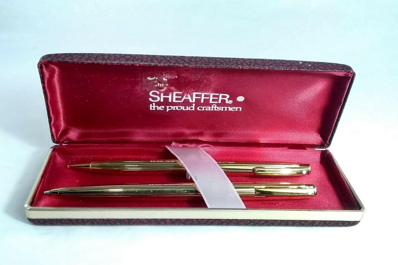 Vintage White Dot Ribbed SHEAFFER PEN & PENCIL SET Gold Electroplated with Box