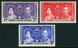 1937 Coronation Set of 3 Gilbert and Ellice Postage Stamps Catalog 37-39 MNH