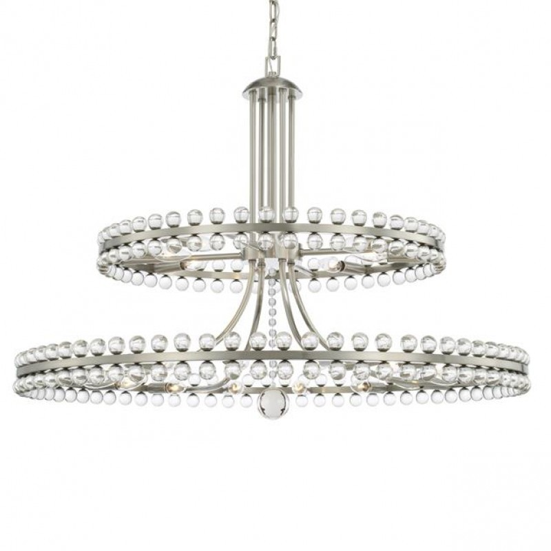 Primary image for SJ2042 CLOVER 24 LIGHT BRUSHED NICKEL TWO TIER CHANDELIER