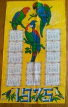 COLORFUL UNUSED 1975  LINEN KITCHEN CALENDAR TOWEL ~ PARROTS - MADE IN P... - $8.90