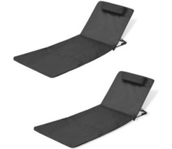 2 Pcs Set Outdoor Sun Lounger Beach Folding Mat Bed With Adjustable Back... - $62.51