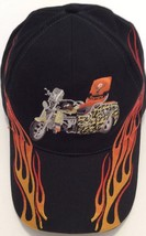 Jagermeister Ball Cap Embroidered Motorcycle And Flames Black Strapback ... - $19.57