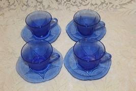 Hazel Atlas Depression Glass COBALT ROYAL LACE 4 Cups & Saucers  C  1934 - $72.00