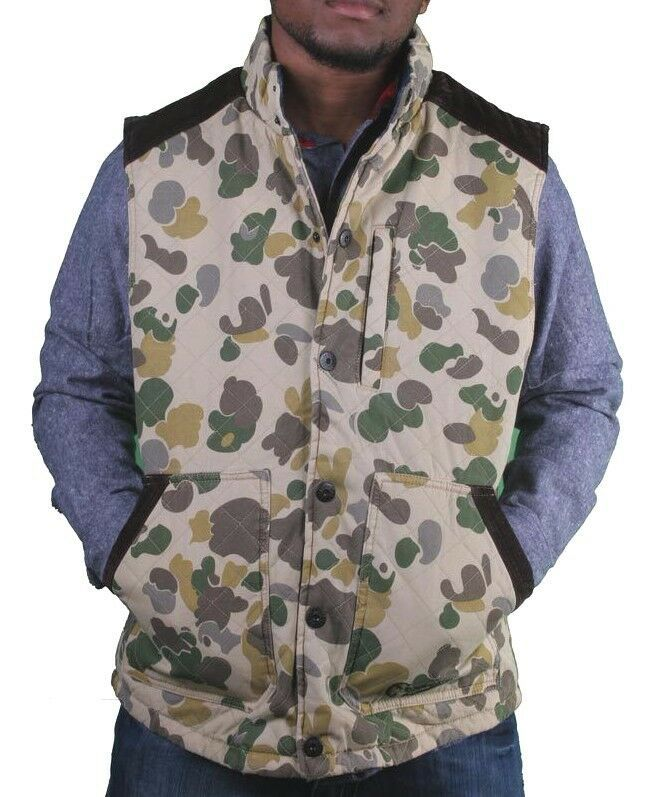 Crooks & Castles Mens Tan Duck Camo Firing Squad Outerwear Cotton Vest NWT