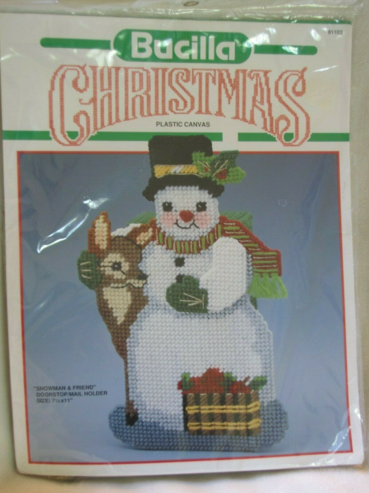 Primary image for Bucilla Christmas Plastic Canvas Snowman and Friend Doorstop/Mail Holder 61103