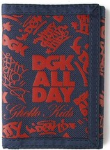 DGK Classic Nylon Tri-Fold Wallet Dirty Ghetto Kid Navy All Over Print NEW