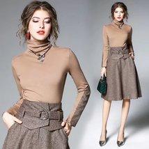 Spring ladies temperament fashion high collar Slim long  A-line  suit dress - $79.00