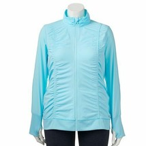NEW WOMENS PLUS SIZE 3X FILA SPORT ICE BLUE RUCHED SIDES ZIP UP  JACKET - $26.11