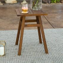 Dark Brown Acacia Wood Outdoor Side Table - $116.07