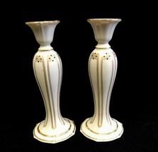 Pair Lenox China Vanguard Candlesticks Ivory Porcelain Gold Trim Jeweled - $46.71