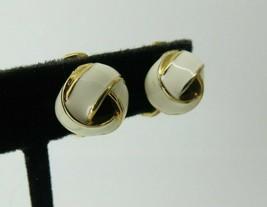 Monet Clip Earrings Luxury White Enamel Smooth Knot Design 11mm High Open Work - $15.83