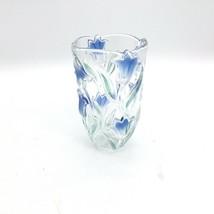 MIKASA Bluebells Green/Blue 3 D Crystal Vase  SA163/620  NEW W/O Box - $39.99