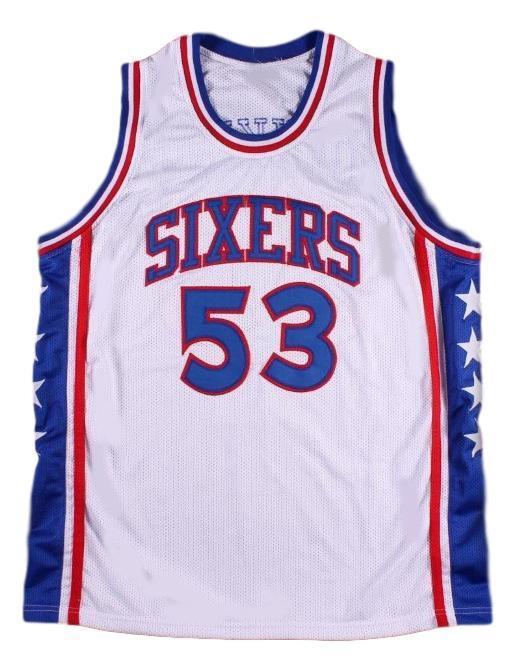 Darryl dawkins philadelphia basketball jersey white   1