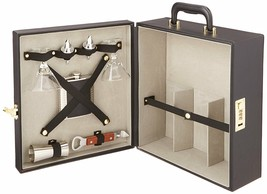 Leather Portable Travel Mini Bar Set Liquor Carry Case w/ Flask Martini ... - $144.99