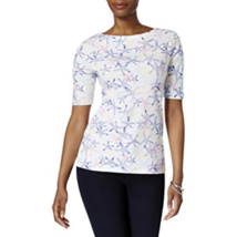 Charter Club Cotton Starfish-Print Boat-Neck Top, Medium - $29.69