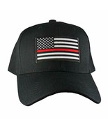 Black Hat Fire Dept Thin Red Line Support American Flag Adjustable Baseb... - $12.88