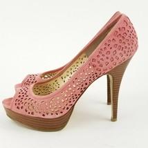 Enzo Angiolini Sully Pastel Pink Suede Platform Stiletto Peep Toe Heels ... - $17.59