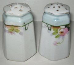 Vtg Japan Fine China Salt Pepper Shaker Hand Painted Roses Gold Trim Por... - $8.41