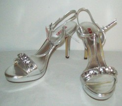 15737a8e7d3 WOMENS NEW SILVER HIGH HEEL RHINESTONE SHOES SIZE 9 SEXY DANCE HOLIDAY D..