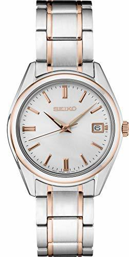 Seiko Women's Stainless Steel Rose Gold Two Tone Watch SUR322