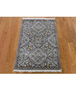 """2'1""""x3'2"""" Oxidized Wool and Silk Mughal Inspired Medallions HandKnotted ... - $233.12"""