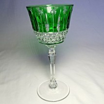 Faberge Xenia  Emerald Green Cut to Clear Crystal Glass Signed - $275.00