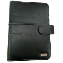 """FRANKLIN COVEY Day One Black Faux Leather 7 Ring Binder White Stitch 10""""... - $31.17"""