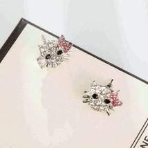 "small 1/2"" Hello Kitty Look Pink Crystal Stud Earrings - $25.64"