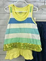Justice Outfit Set - Layered cotton Tank Top + Roll Up Capri Pull On Pants Sz 10 image 2
