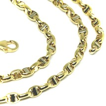 """18K YELLOW WHITE GOLD CHAIN SAILOR'S NAUTICAL MARINER BIG OVAL 4mm LINK, 24"""" image 2"""
