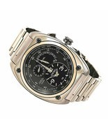 New Seiko SNL073 Men's Kinetic Chrono Black Dial Black IP Steel Watch - £310.21 GBP