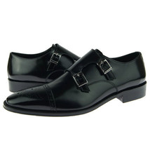 Handmade Men's Black Two Tone Brogues Double Monk Leather Shoes image 4