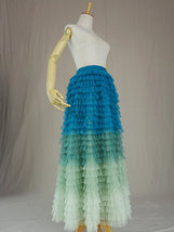 Multi-Color Layered Tulle Skirt High Waisted Tiered Tulle Skirt Outfit image 3