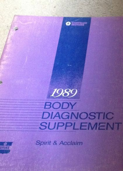 Primary image for 1989 DODGE SPIRIT PLYMOUTH ACCLAIM Body Diagnostic Service Repair Shop Manual SP
