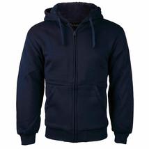Boys Kids Soft Sherpa Lined Fleece Zip Up Hoodie Navy Sweater Jacket w/ Defect L
